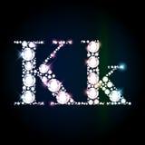 Sparkling diamond gemstone letter K Stock Images