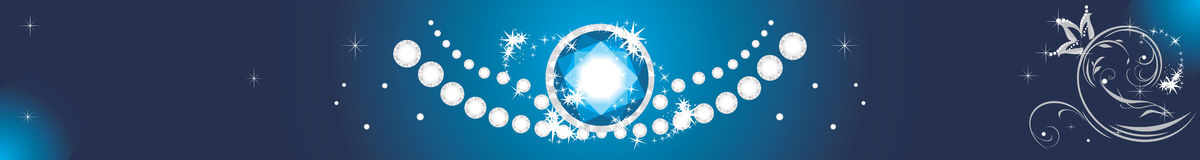 Sparkling diamonds on a blue background. Banner Stock Photo