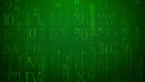Sparkling Digits in Multilayered Cyberspace. A mysterious 3d illustration of glowing digits of Latin and Arabic origin put in the green cyberspace. They are of Stock Photo