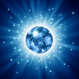 Sparkling disco ball on blue light burst Royalty Free Stock Photography