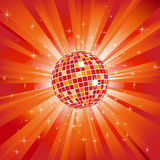 Sparkling disco ball on blue light burst Royalty Free Stock Photos