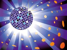 Sparkling disco ball on blue light burst Stock Photography