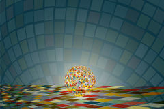 Sparkling disco ball on the colorful square tile floor with colorful reflection shine and spread around on background. Stock Images