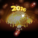 Sparkling disco ball 2016 and crowd Stock Photos