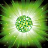 Sparkling disco ball on green light burst Royalty Free Stock Image