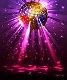 Sparkling disco ball. Night party. Modern illuminating disco ball sphere with spotlights disco background vector illustration Royalty Free Stock Image