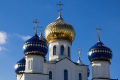 Sparkling domes of orthodox church Royalty Free Stock Photography