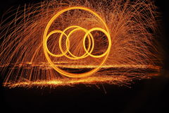 Sparkling. Enjoy of steel wool in the dark Royalty Free Stock Image