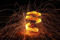 Sparkling. Enjoy of steel wool in the dark Stock Images
