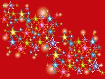 Sparkling festive stars. On red pattern Stock Photo