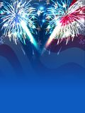 Fireworks background for 4th of July celebration. Sparkling firework explosion blue background for 4th of July celebration with firework Stock Photography