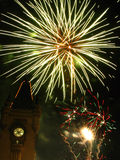 Sparkling fireworks in the sky over the Palace.  Royalty Free Stock Images