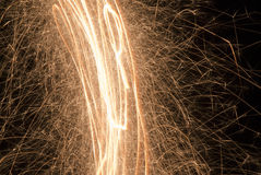 Sparkling fireworks. Sparklers light up at New Year's Eve royalty free stock image