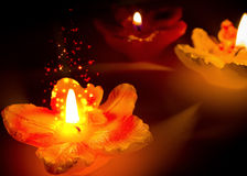 Sparkling flower shape candles Royalty Free Stock Photography