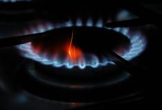 Sparkling gas. Blue gas flame over the gas range Stock Photos