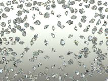 Sparkling Gemstones scatter and fly away over gradient. High resolution. 3d render Royalty Free Stock Images