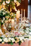 Sparkling glassware stands on table prepared for elegant wedding Royalty Free Stock Image