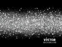 Sparkling glitter border on black background. Silver rectangle of glitter confetti, vector dust.
