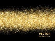 Sparkling glitter border on black. Festive background with vecto. Sparkling glitter border on black. Festive background with golden dust. Golden rectangle of Royalty Free Stock Images