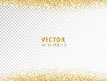 Sparkling glitter border, frame. Falling golden dust isolated on transparent background. Vector decoration. royalty free illustration