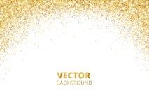 Sparkling glitter border, frame. Falling golden dust isolated on white background. Vector gold glittering decoration. royalty free illustration