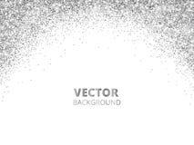Sparkling glitter border, frame. Falling silver dust isolated on white background. Vector glittering decoration. vector illustration