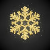 Sparkling glitter covered gold snowflake. Invitation happy New Year and Christmas card template. EPS 10 stock illustration