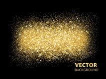 Sparkling glitter texture on black background, vector golden dus Stock Image