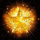 Sparkling gold christmas star Royalty Free Stock Images