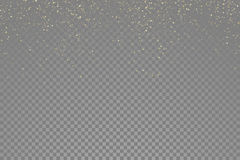 Sparkling gold glitter particles effect, golden glittering space star dust Stock Image