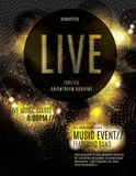 Sparkling gold live music poster template. Live music flyer template with sparkling gold dots Stock Photography