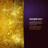 Sparkling gold mosaic and puple panel background. Sparkling Gold Mosaic with Purple Panel and Sample Text Stock Images