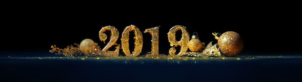 2019 in gold numbers celebrating the New Year royalty free stock photo