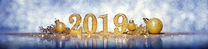 2019 in gold numbers celebrating the New Year royalty free stock image