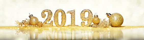 2019 in gold numbers celebrating the New Year royalty free stock images
