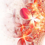 Sparkling gold and red fractal flowers. Digital artwork for creative graphic design Royalty Free Stock Photos