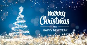 Sparkling gold and silver lights xmas tree Merry Christmas and Happy New Year greeting message on blue background,snow. Flakes,bright lights decoration.Elegant Royalty Free Stock Photo