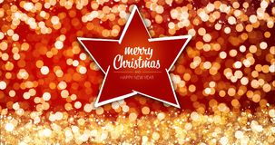 Sparkling gold and silver xmas lights with Merry Christmas and Happy New Year greeting message star ornament on red. Background,bright lights decoration.Elegant Stock Images