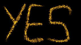 Sparkling golden animation with the YES sign. stock footage
