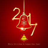 Sparkling Golden Christmas Bell on Red Background Stock Photography