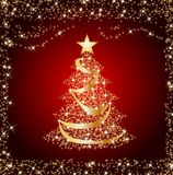 Sparkling golden christmas tree Stock Image