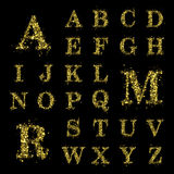 Sparkling golden glitter sequins font set A to Z Stock Photo