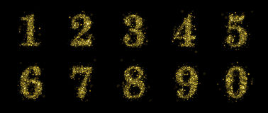 Sparkling golden glitter sequins numbers set 0 to 1. Sparkling glitter numbers on black background. Numbers of golden sequins and stars. Christmas holiday Royalty Free Stock Photo