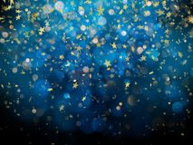 Sparkling golden magic glowing dust. Golden Christmas and New Year glittering stars on dark blue bokeh background. EPS. 10 vector file included stock illustration
