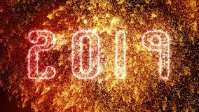 Sparkling Golden 2019 New Years Eve Celebration and Fireworks explosions. Sparkling Golden 2019 New Years Eve Celebration party and Fireworks explosions video royalty free illustration