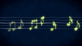 Sparkling golden notes on sheet music, karaoke background, abstract illustration. Stock footage Stock Photography