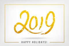 2019 sparkling hand written lettering. Happy Holidays card desig. N in a gold frame. Vector illustration Stock Photos