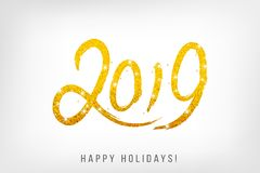 2019 sparkling hand written lettering. Happy Holidays card desig. N. Vector illustration Royalty Free Stock Photography