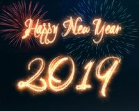 Sparkling Happy New Year 2019 Fireworks Calligraphy. Happy New Year 2019 calligraphy written with sparkle fireworks displayed on a dark night sky. Shiny bright vector illustration