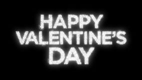 Sparkling Happy Valentine`s Day Reflective Background Loop with Matte. A 12 second looping animation of `Happy Valentine`s Day` over a reflective spot lit stock footage